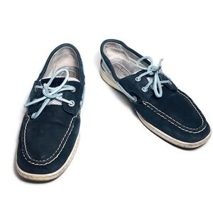 Sperry Top Siders Navy Blue Leather Boat Shoes